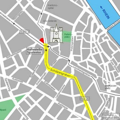 Map on how to find the Hotel Spalentor in Basel