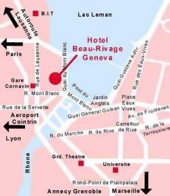 Geneva Map with the Location of the Hotel Beau Rivage