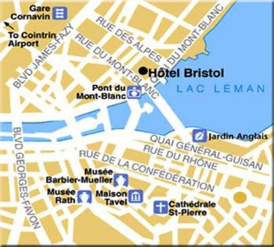 Geneva Map with the Location of the Hotel Bristol
