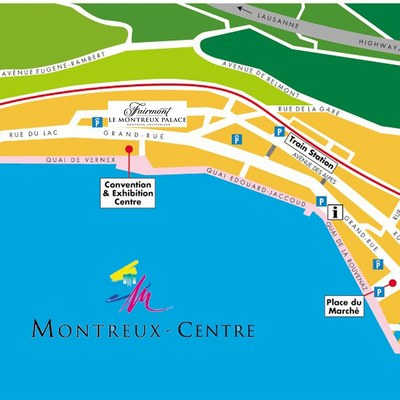 Montreuc Map with the Location of Le Montreux Palace Hotel