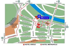 Location of the Hotel Kreuz in Bern, Switzerland