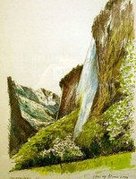 Painting of the Staubbach Fall in a room at the Hotel Cascada in Luzern