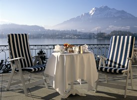 Lake Lucerne and the Alps from Suite at the Palace Luzern Hotel