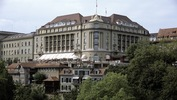The 5-star Hotel Bellevue Palace is next to the Swiss Parliament and overlooking the Aare River in Berne, Switzerland